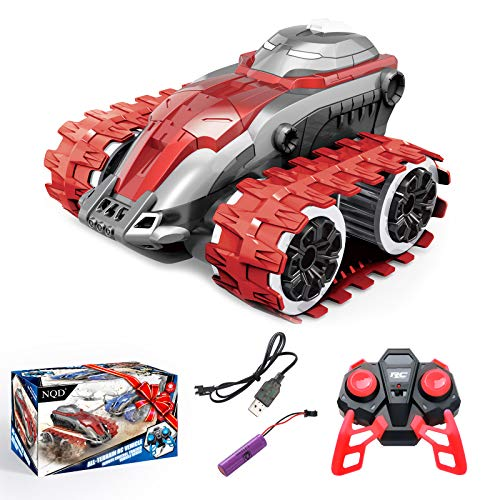 Remote Control Car 360° High Speed Rotating RC Vehicle 2.4Ghz Truck Tracked Wheelie RC Cars, Kids Birthday, Back to School, Xmas Toys Gifts for 4-7 Years Old Boys Girls (Red)