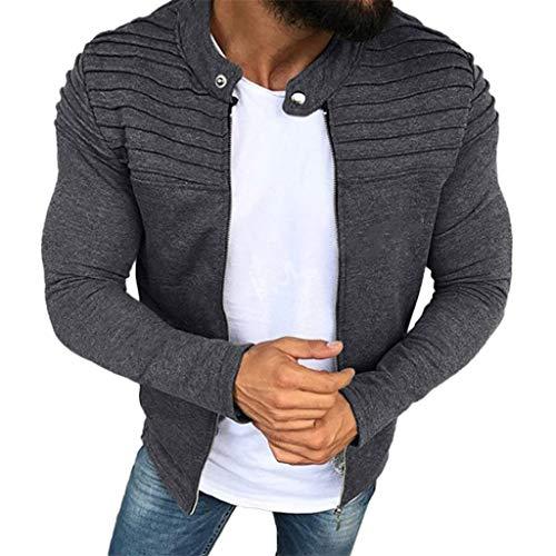 SANFASHION Herren Jacke Männer Herbst Winter Falten Slim Streifen Fit Raglan Reißverschluss Outwear Mantel Langarm Top Coat