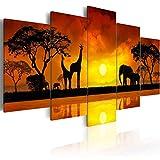 Konda Art 5 Piece Giraffe Canvas Wall Art African Landscape Sunset Tree Print Painting Home Decor Modern Animal Elephant Artwork for Living Room Framed and Ready to Hang (Savanna - Sunset, 60'x 30')