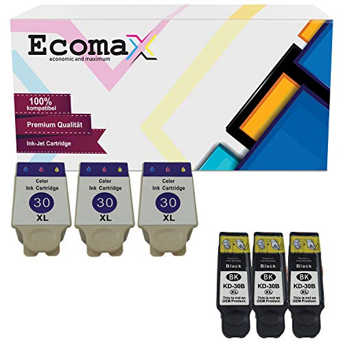 Ecomax 6 XL Druckerpatronen kompatibel zu Kodak 30B XL 30C XL für Kodak ESP C100 C110 C115 C300 C310 C315 C330, Kodak ESP Office 2170 AIO 2150, Hero 2.2, 3.1, 4.2, 5.1