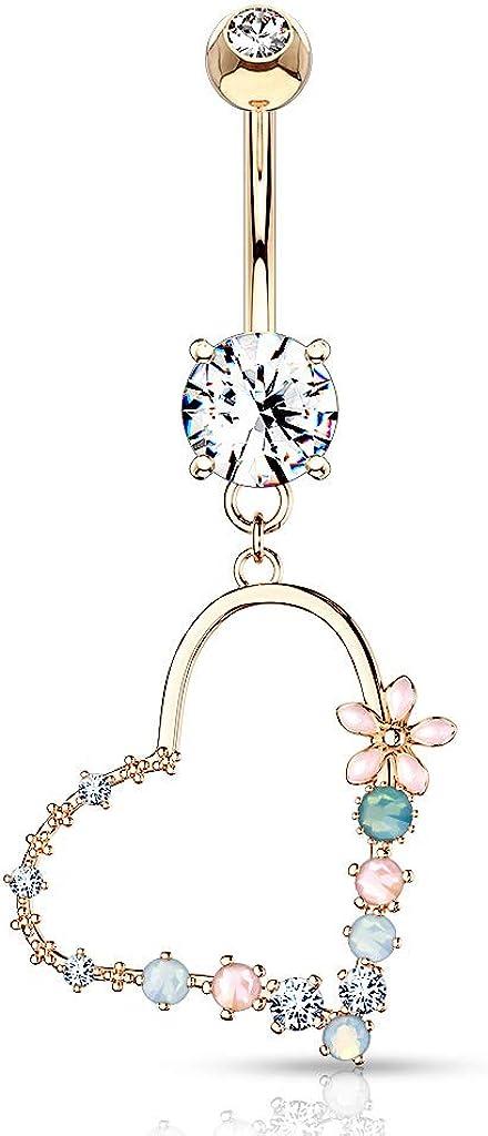 security Amelia Fashion 14GA Enamel Flower Dang Heart Stone Opalite Set Challenge the lowest price of Japan ☆