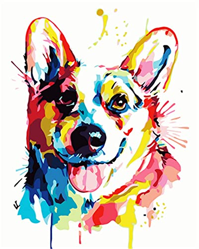 N\A Pintura Al Óleo DIY Pintura por Numeros Adultos Niños Perro Perro Pintado Manualidades para Pintar Cuadro Lienzo