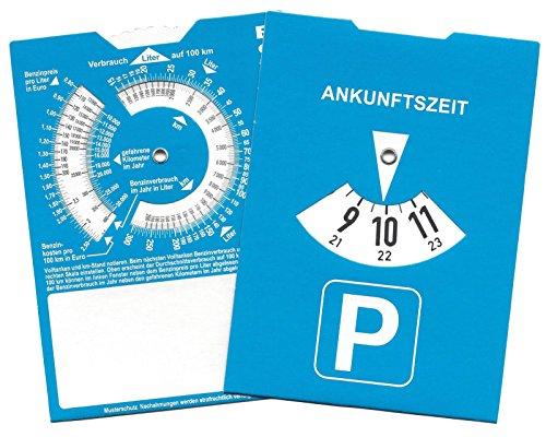Europa Parkscheibe Parkuhr mit Benzinrechner Rückseite neutral ohne Werbung (5)