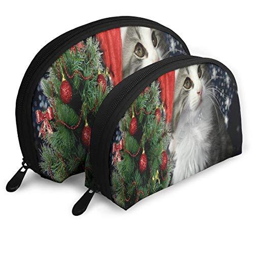 Trousse de Maquillage Red Hat Kitten Portable Shell de Toilette Organisateur pour Les Femmes Thanksgiving Day Gift 2 Pack