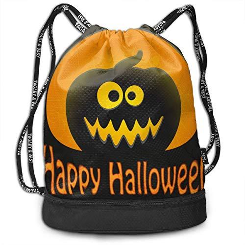 Arvolas Rucksack Kordelzug Tasche lustige Halloween-Grußkarte mit lächelnder Jack O 'Laterne im Papier-Stil Fitnessstudio Kordelzug Taschen