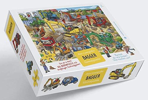 Bagger Puzzle: XXL - Bodenpuzzle mit 48 großen Teilen ab 3 Jahren - Mein riesengroßes Bagger Wimmelpuzzle