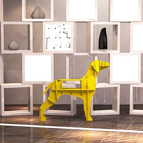 Doe-het-zelf boekenkast, staande boekenkast, rek, creatieve modellering, sub-grid opslag plank, PVC hout kunststofplaat handwerk ornament, geel, L Medium geel