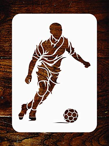 Fußball-Schablone – 11,5 x 15 cm – Wiederverwendbare Fußballspieler-Sport-Wand-Schablone – Verwendung für Papierprojekte, Scrapbook, Tagebuch, Wände, Böden, Stoff, Möbel, Glas, Holz usw.