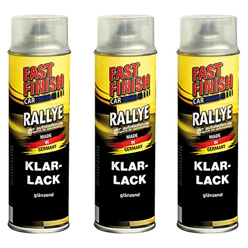 3x 500 ml FAST FINISH Car Rallye Klarlack Lackspray glänzend Spraydose 292859