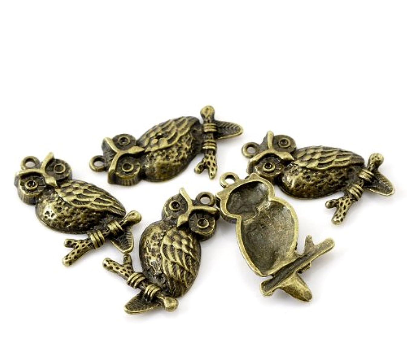 PEPPERLONELY Brand 20 PC Antique Bronze Halloween Ornaments Owl Charm Pendants 1-2/8 x 6/8 Inch (33MM x 18MM)
