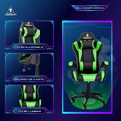silla gaming verde de la marca LIBITIUM