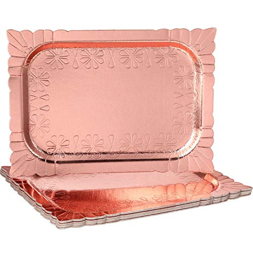 8 Pieces Rose Gold Serving Trays 94 x 134 Inch Disposable Cake Plate Safe Cupcake Holder Fruits Dessert Serving Platters for Birthday Parties Weddings Home Decor