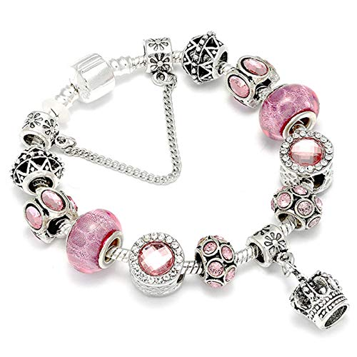 PmseK Armbänder/Bangle Armband, Luxury 925 Silver Charms Bracelet Bangle for Women Crystal Flower Beads Fit Brand Bracelets Jewelry AE0219 19cm