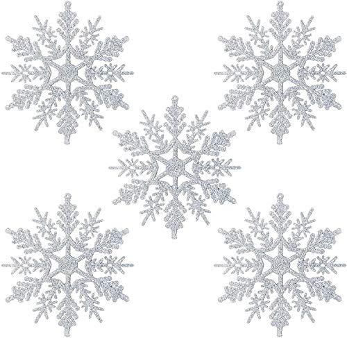 Naler 24 Adorno Copo de Nieve Plata de Plástico Adornos Navideños con Purpurina para Decoración Colgante de Árbol de Navidad (10cm)