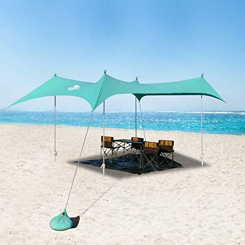 WINNINGO Premium Beach Sunshade, Upgraded Large Sun Shade Canopy 10' x 9', Beach Tent with 4 Aluminum Poles, 4 Pole Anchors, Waterproof Carry Bag & Tarp Mat, UPF50 UV Protection