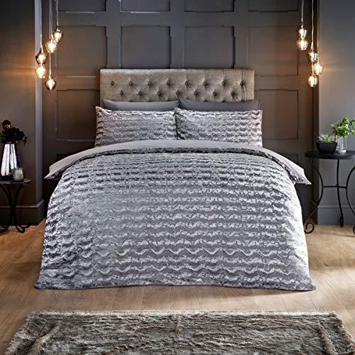Sleepdown Juego edredón con Fundas de Almohada (220 cm x 230 cm), diseño de Ondas geométricas con Purpurina abstractas, Color Gris, Terciopelo, Matrimonio