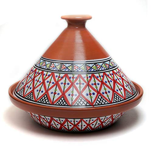 Kamsah Hand Made and Hand Painted Tagine Pot   Moroccan Ceramic Pots For Cooking and Stew Casserole Slow Cooker (Medium, Supreme Bohemian Red)