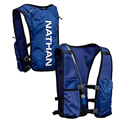 Nathan QuickStart Hydration Pack Running Vest. 4L Storage with 1.5L (1.5 Liter) Bladder Included. for Men and Women OSFM Adjustable Straps. Phone Holder Pockets, Zippers (Blue, One Size Fits Most)