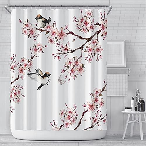 GDYJP Badezimmer Accemies 180x200cm Rosa Kirschblüten Pfirsichblüten Duschvorhang Weißer Hintergr& Mädchen Badezimmer Wasserdicht Polyester Tuch Display mit Haken