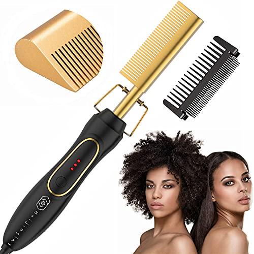 Pettine elettrico caldo piastra per capelli professionale per donna, spazzola per pettine lisciante per barba per uomo