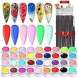 Anself Esmaltes Uñas, Esmaltes Semipermanentes de Uñas Esmaltes en Gel Esmalte de uñas Enlatado, 36 Colores DIY Esmaltes Semipermanentes Pastel, Trae un Juego de 15 Pinceles (Negro)