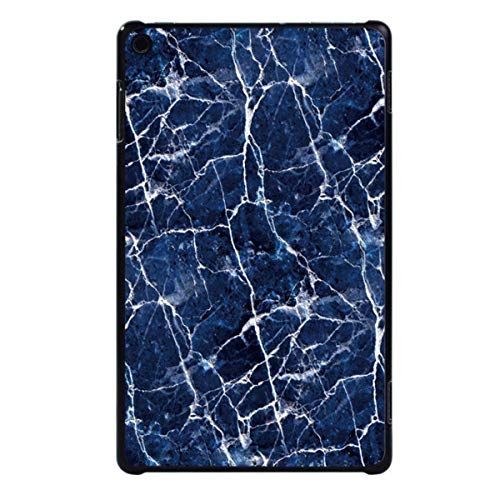 for Amazon Fire HD 8 (6th/7th/8th Gen, 2016 2017 2018 Release) -Tablet PC Plastic Marble Pattern Slim Stand Case Cover,White Vein in Blue