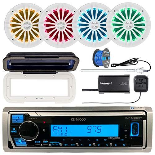 "Kenwood Marine Bluetooth Receiver, Single DIN Radio Cover, 4X Enrock 6.5"" 2 Way 180W LED Speakers (White), Satellite Radio Tuner Kit, Radio Antenna - White, 50 Foot 16-G Tinned Speaker Wire"