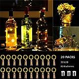 (20 Stück) Flaschen licht, BACKTURE 2M 20 LEDs Flaschenlicht Glas Korken Licht Kupferdraht für flasche für Party, Garten, Weihnachten, Halloween, Hochzeit, außen/innen Beleuchtung Deko (Warmweiß)