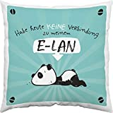 Hope und Gloria 45665 Baumwoll-Kissen mit Tier-Motiv Panda-Bär, Zier-Kissen mit Spruch Habe heute...