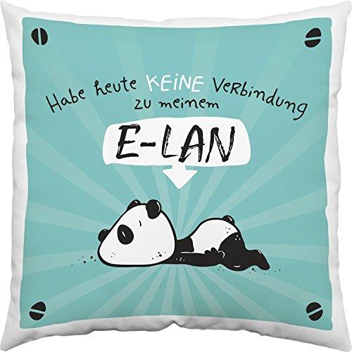 Hope und Gloria 45665 Baumwoll-Kissen mit Tier-Motiv Panda-Bär, Zier-Kissen mit Spruch Habe heute keine Verbindung zu meinem E-LAN, 40 cm x 40 cm, Blau