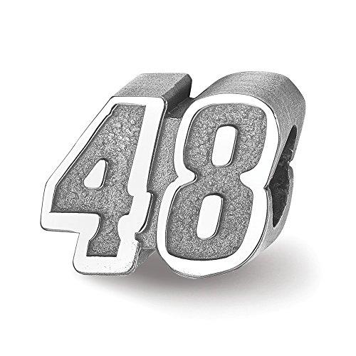 Hermosa plata esterlina Ant LogoArt NASCAR # 48 Jimmie Johnson Bead
