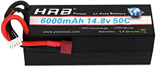 HRB 4S 6000mah 14.8V 50C High Capacity Lipo Battery Hardcase with Dean's T Plug for 1/8 1/10 Scale Electric RC Buggy Truggy Crawler Monster Car Boat Truck Roar Approved Slash 4X4 Traxxas Bandit