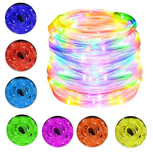 Fairy Rope String Lights, 10M 100 LEDs RGB Outdoor Color Changing String Lights, 4 Modes 16 Colors USB Powered Rope Tube Lights with Remote, Waterproof for Halloween Christmas Party Indoor Decor