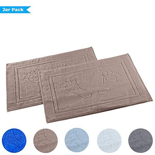 Dreamhome 2er Pack Badvorleger Badematte Badteppich Badgarnitur Vorleger Duschvorleger 50 x 70cm 100% Baumwolle, Dichte 740 g/m², Farbe:Taupe