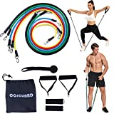 COSGUARD Resistance Bands Set with Handles, Ankle Straps, Door Anchor, Carry Bag – Portable Exercise Tube Bands, Exercise Elastic Bands for Strength Training, Stretch Training, Home Workouts