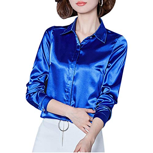 Women's Silk Blouse Long Sleeve Lady Shirt Casual Office Work Blouse Button-Down Shirts Tops Royal Blue