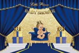 Yeele 7x5ft Blue Boy Baby Shower Backdrop Cute Royal Prince Baby Shower Photography Background Food Cake Table Decoration Nursery Activity Baby Acting Show Photoshoot Props