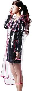 Ouvin Chubasquero transparente con capucha EVA, ligero y largo para mujer