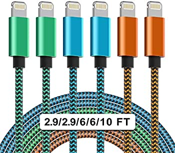 6-Pack WZK 2.9/2.9/6/6/10/10 FT Colorful iPhone Charger