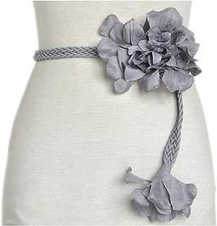 SGJFZD Women's New Braided Belt Flower Fashionable Wax Rope Braided Waist Chain (Color : Gray, Size : 100-135CM)