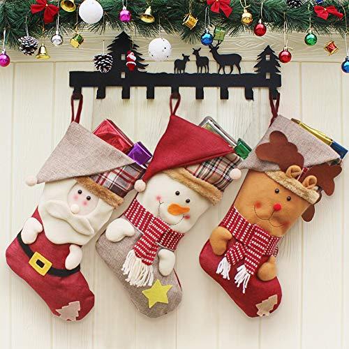 MMTX 3 Pezzi Calza Natalizia,Calze da Caminetto con Babbo Natale, Pupazzo di Neve, Renna, Personaggio Natalizio in Peluche 3D con Polsino in Pelliccia Sintetica, Decorazioni Natalizie (18')