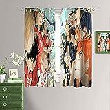 Haikyuuu!! - Cortinas opacas para dormitorio, diseño de anime con ojales y aislamiento térmico para ventana, 182 x 163 cm