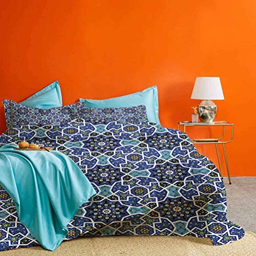 Moroccan Bed Set Persian Gypsy Jacquard Style Arabic Culture Folk Tracery Geometric Image Best Hotel Luxury Bedding Royal Blue 3 Piece (1 Duvet Cover and 2 Pillow Shams) California King Size