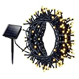 Patech イルミネーションライト ソーラー充電式 200led電球 22m ストリングライト 8点灯モード 防水仕様 装飾ライト 電飾 クリスマス パーティー適用