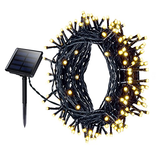Mpow Solar Fairy Lights, 200LED Waterproof Solar Powered LED Fairy String Lights, Outside Solar Lights 72 ft 22m 8 Modes for Garden, Home, Patio, Yard, Trees,Parties,Wedding Warm White