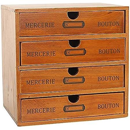 Baffect Boîte de Rangement de Bureau avec tiroirs en Bois 1 tiroir boîte à Bijoux Vintage boîte à Bijoux boîte en Bois boîte en Bois avec Organisateur de tiroirs Table en Bois, 1 étage (4 étages)