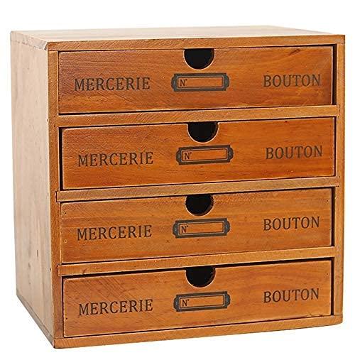 Baffect Desktop Schubladenbox Holz 4 Stöckig Aufbewahrungsbox mit Schubladen Vintage Schmuckkästchen Holzkästchen Holzbox mit Schubfach Organizer Holz Tischkommode zur Aufbewahrung, 4 Etage