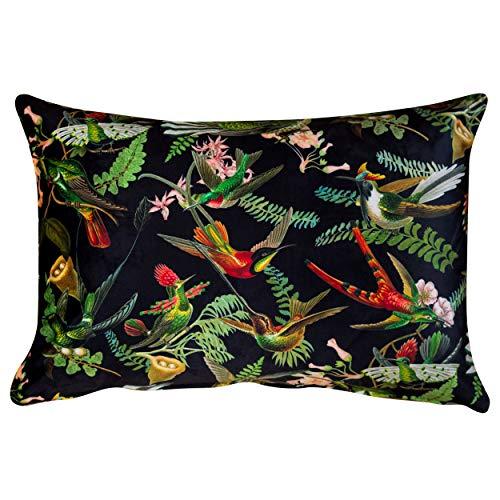 Cojín Boudoir de lino con diseño de pájaros botánicos de terciopelo, rectángulo de 17 x 12 (43 cm). colibríes, flores y hojas en tonos profundos de joya. (relleno de plumas)