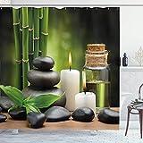 Alvaradod Rideau de Douche Spa,Pierres de Massage Chaudes combinées avec des Bougies et des parfums Paysage de Bambou,Ensemble de Vert Blanc avec 12 Crochets en Plastique 180x180cm