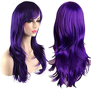AKStore Fashion Wigs 28  70cm Long Wavy Curly Hair Heat Resistant Wig Cosplay Wig For Women With Free Wig Cap  Purple